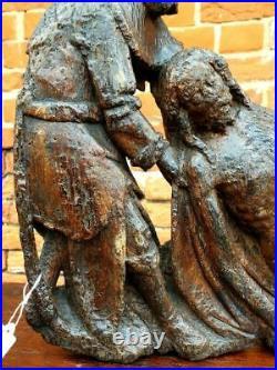 15th Century Antique Oak Wood Carving Sculpture, Circa 1450, Joseph & Christ