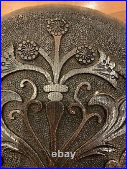 18th C Decorative Carved Oak Panel 26 X 46 Cm