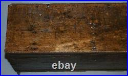 18th Century Circa 1720 Solid Oak Six Plank Coffer Trunk Chest Thick Iron Handle
