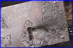18th Century, Iron & Oak Huge Gothic Castle Door Key & Lock Oversized Monumental