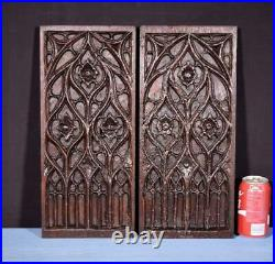 18th Century Pair of French Antique Gothic Panels in Solid Oak Wood Salvage