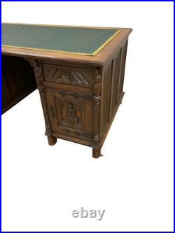 19th Century French Gothic Partners Desk, Leather Top, Oak, 19th Century #11544