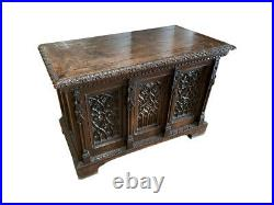 19th Century French Gothic Trunk, Oak, Tracery Carvings, Antique