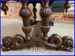 19th century French Carved Oak Desk Sofa Side Table Dolphin Renaissance Gothic