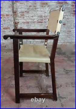 19th century Spanish Revival Oak Dinning Chair -Set of 8