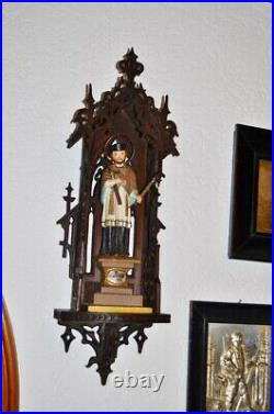 19thc Black forest ANTIQUE neo gothic oratory NEPUMUK wood 24.5in oak