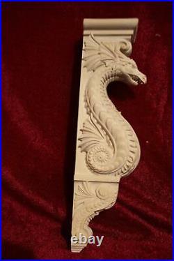 20 Dragon Corbel, Wooden Corbel, Rustic Corbel, Fireplace Surround, dragon art