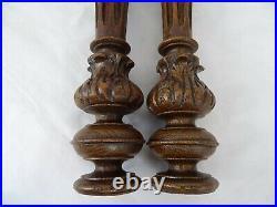 21 French Antique Pair Carved Wood Trim Posts Pillars Columns Oak Gothic