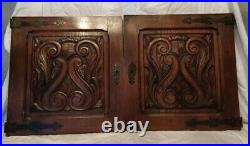 23 PAIR Antique French Gothic Architectural Panel Door Oak Wood Carved Salvage
