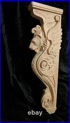 25 Lion Corbel, Wooden Corbel, Rustic Corbel, Fireplace Surround, lion art