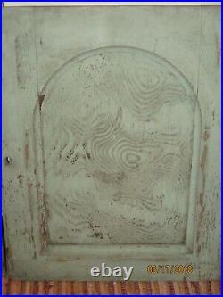 2 Antique GOTHIC ARCH CUPBOARD DOORS original Old GREEN PAINT 24x19 Oak Wood