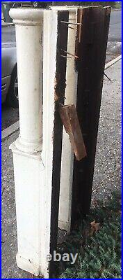 (2) Antique Oak Fireplace Mantle Columns Posts W Ginger Bread 48 Tall Over All