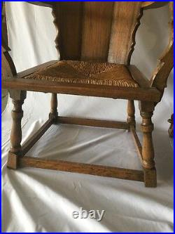 2 Original Antique Medieval Gothic King Queen Throne Chairs