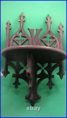2 antique folding shellf Black Forest Oak cut carved wood Gothic 1890-1900