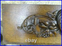 33 French Antique Pediment Solid Oak Wood Salvage Green Man Gothic