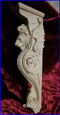 34 Lion Corbel, Wooden Corbel, Rustic Corbel, Fireplace Surround, lion art