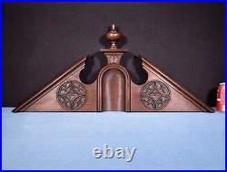 35 French Antique Neo Gothic Pediment/Architectural Crown in Oak Wood Crest
