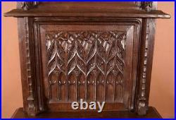 39 Tall Antique French Gothic Revival Shrine/Dresser Box/Altar/Pediment in Oak