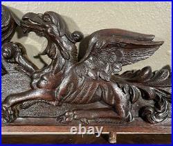 40 Antique French Gothic Crest/Pediment with Lion & Griffins