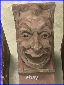 (4) Gothic English Tudor Antique Carved Beams Wood Heads Faces Corbels Salvage