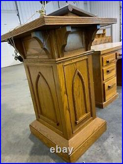 75 Year Old Oak Gothic Pulpit