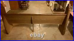 7-foot 1930 used church pew, solid oak, early English Gothic, free local pick-up