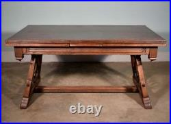 9 Foot Long Antique French Neo Gothic Dining Table in Oak with Wrought Iron