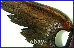 ANTIQUE CARVED DRAGON PHOENIX PEDIMENT FRAGMENTS OAK c. 1870