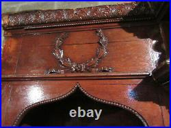 ANTIQUE CARVED OAK CLOSET FRONT BUILT IN ARMOIRE GOTHIC 113 x 106 SALVAGE