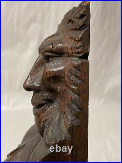 ANTIQUE CARVED OAK WOOD GOTHIC FACE SALVAGED FURNITURE PANEL 19 Long