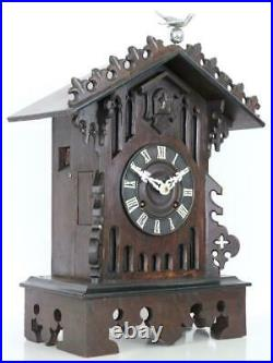ANTIQUE CUCKOO CLOCK fusee 8 DAY working GOTHIC BRACKET or MANTEL STYLE