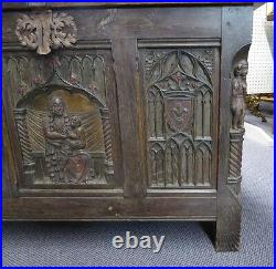 ANTIQUE OAK TRUNK with CARVED Madonna & Child. Gothic revival. Made in Belgium 1900