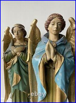 A Trio Of Carved Oak Angel Figures Gothic Revival Pugin Religious Church Statue