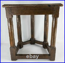 Antique 17th/18th English French Oak Demi Lune Side Table Stool Columns Gothic