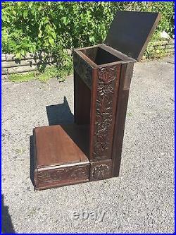 Antique 1890 Prayer Bench Kneeler Bench Mater Admirabilis Heavily Carved Ornate