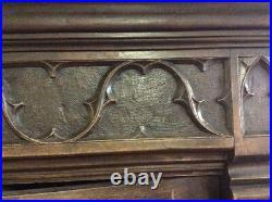 Antique 19th Century Gothic Revival Bookcase Cabinet Solid Oak