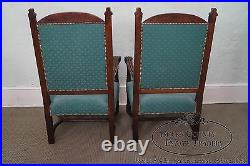 Antique 19th Century Pair of Gothic Oak Throne Arm Chairs