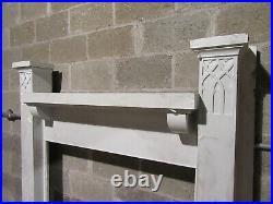 Antique 1/4 Sawn Oak Fireplace Mantel Gothic 60 X 64 Architectural Salvage