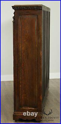 Antique American Gothic Revival Carved Oak 3 Door Bookcase