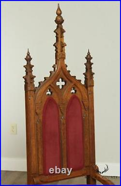 Antique American Gothic Revival Pair Oak High Back Chairs