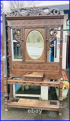 Antique Asian Dragon Hall Tree Oak Carved Hat Coat Halltree Old Victorian Gothic