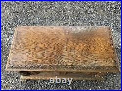 Antique Blanket Cedar Oak Chest Monk Priest Church Gothic Table Clawfoot Carved