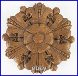 Antique Carved Oak Decorative Roundel Architectural Element Gothic Revival