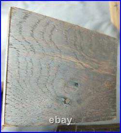 Antique Carved Oak Pair Figural Shelf Brackets Corbels Medieval Theme 11H