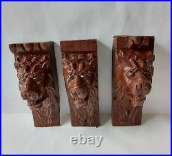 Antique Carved Oak Set of 3 Lions Head Corbels Wall Plaques 20cm Tall