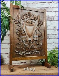 Antique Carved Solid Oak Gothic Fireplace fire Guard screen Coat Of Arms Shield