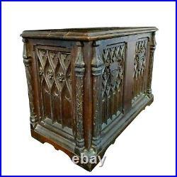 Antique Chest, Oak Gothic 2 Door Table Top Cabinet 16H 23W, Handsome Piece