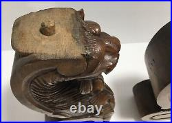 Antique Circa Early 1900's Hand Carved Oak Architectural Gothic Cats (Lot of 2)