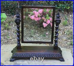 Antique English BARLEY TWIST Mirror GOTHIC Oak Tilting Dresser Vanity Mirror