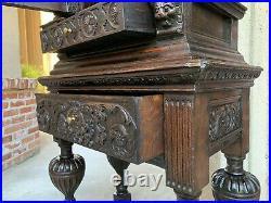 Antique English Carved Oak Wine Cabinet Stand Renaissance Gothic Vestment 19th c
